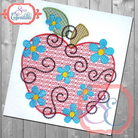 Daisy Swirl Apple Design, Applique