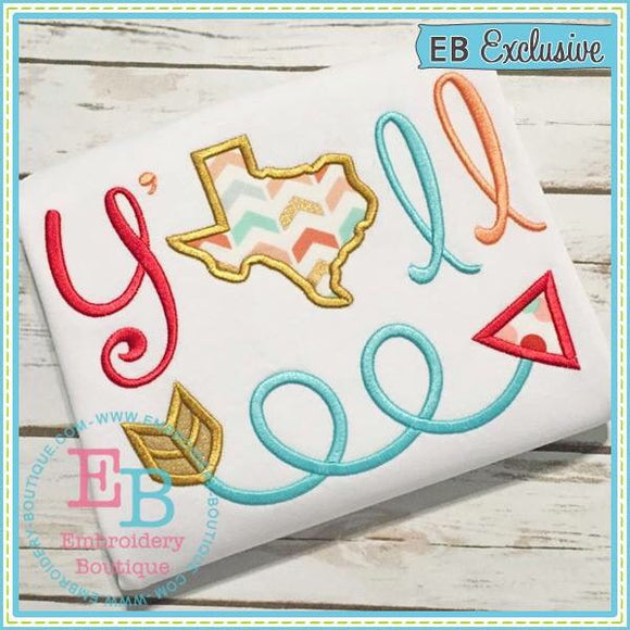 Y'all Texas Applique - embroidery-boutique