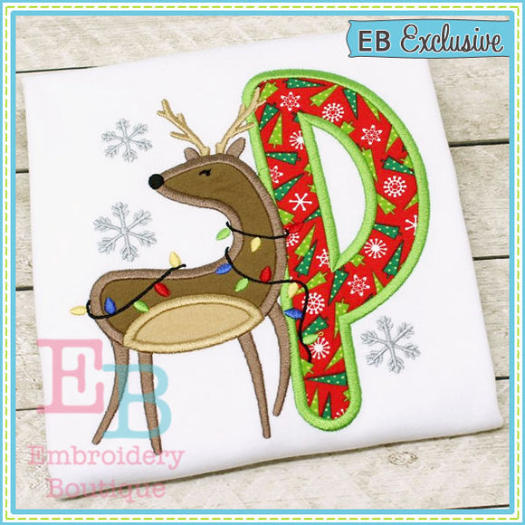 Christmas Deer Applique Alphabet, Applique