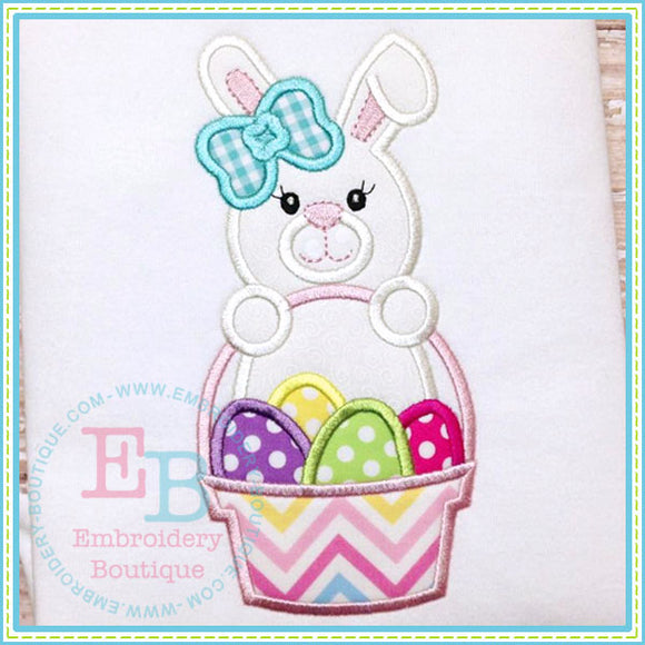 Girl Bunny Basket - embroidery-boutique