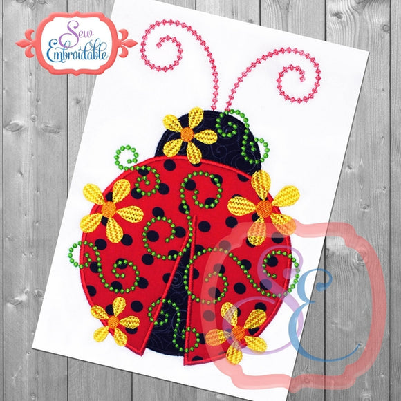 Daisy Swirl Ladybug Applique - embroidery-boutique