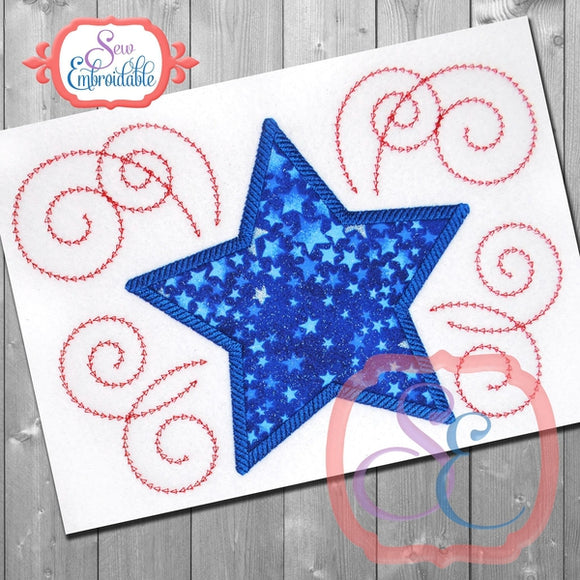 Star Swirls 2 Applique, Applique