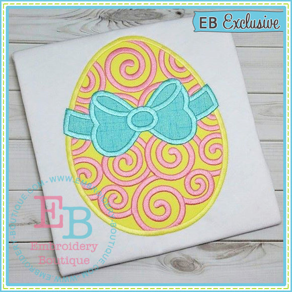 Swirly Egg Bow Applique - embroidery-boutique