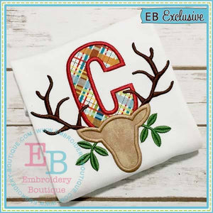 Deer Farmhouse Applique Alphabet, Applique Alphabet