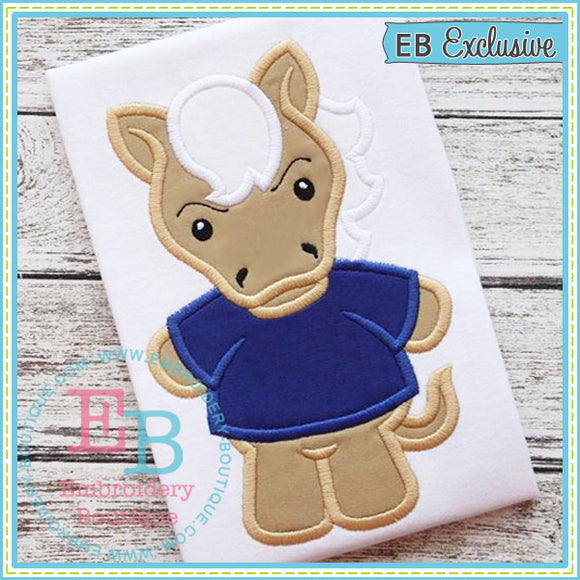 Boy Mustang Mascot Applique - embroidery-boutique