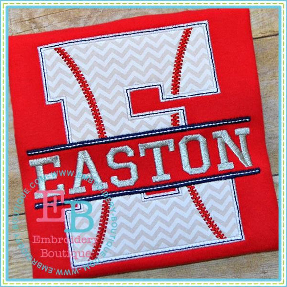 Split Baseball Applique Alphabet, Applique