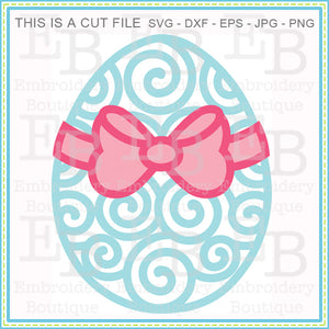 Swirly Egg Bow SVG, SVG Cut Files