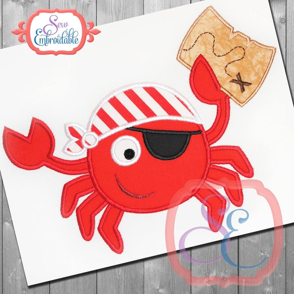 Pirate Crab Applique, Applique