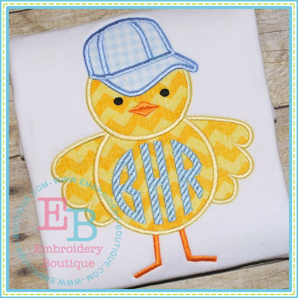 Boy Chick Baseball Cap Applique, Applique