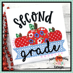Second Grade Apple Banner Zigzag Applique Design