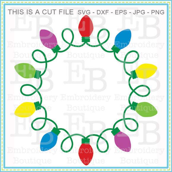 Christmas Light Frame SVG - embroidery-boutique