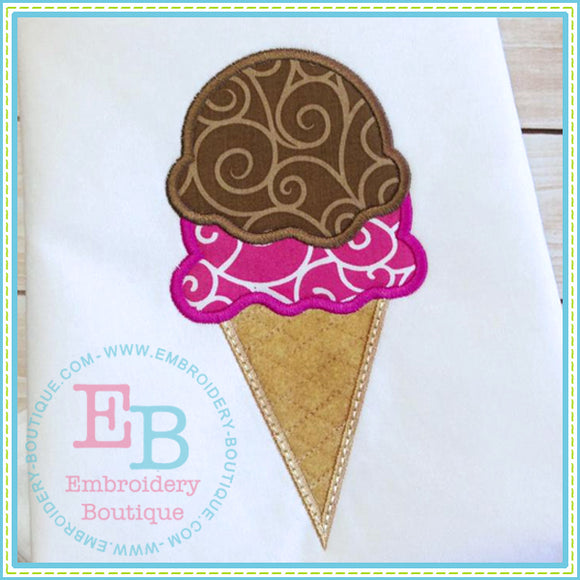 Ice Cream Cone Applique - embroidery-boutique