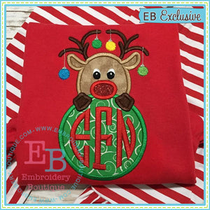 Reindeer Monogram Peeker Applique, Applique