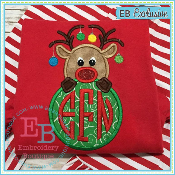 Reindeer Monogram Peeker Applique - embroidery-boutique