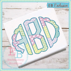 Scalloped Sketch Patchwork Alphabet - embroidery-boutique