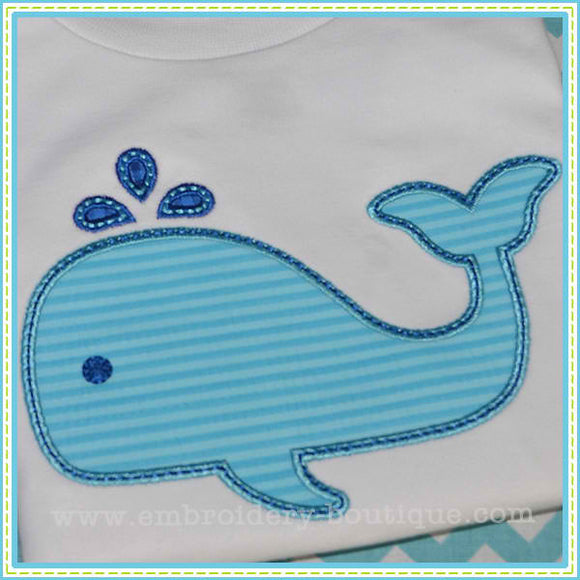 Flat Belly Whale Applique, Applique