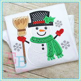 Snowman Broom Applique - embroidery-boutique