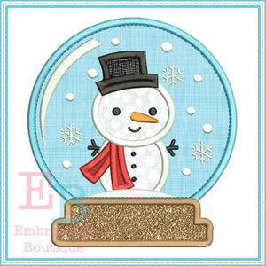 Snowman Snow Globe Applique