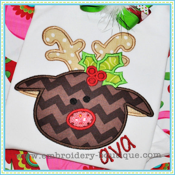 Holly Reindeer Applique, Applique