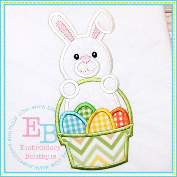 Boy Bunny Basket Applique, Applique