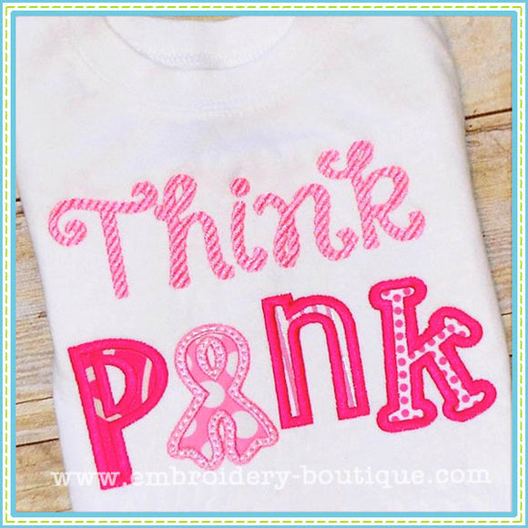 Think Pink Applique - embroidery-boutique