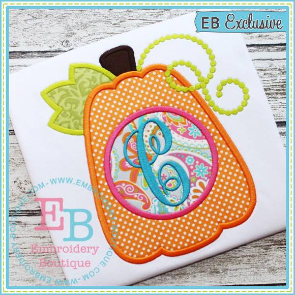 Tall Monogram Pumpkin Applique, Applique