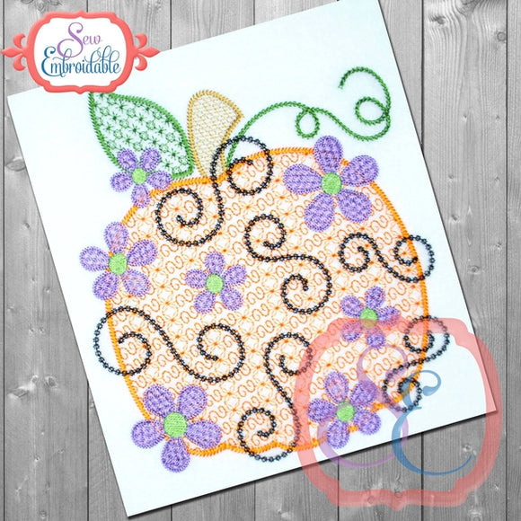 Daisy Swirl Pumpkin Design - embroidery-boutique