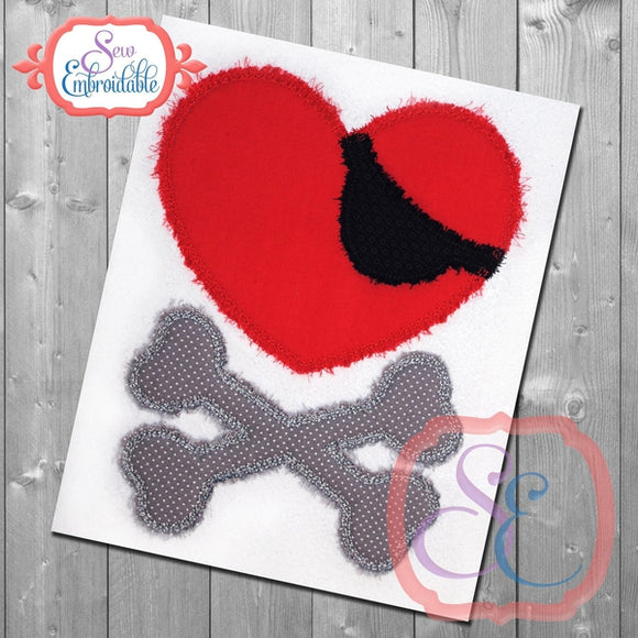 Skull Heart Applique, Applique