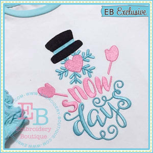 Snow Days Embroidery Design, Embroidery