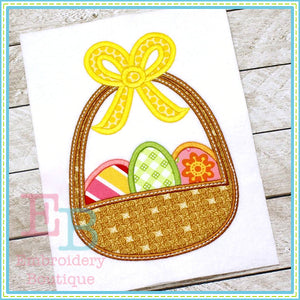 Easter Basket 3 Eggs Applique, Applique