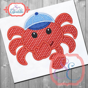 Shy Boy Crab Applique, Applique