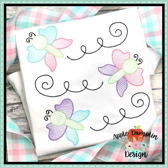 3 Butterflies Sketch Embroidery Design