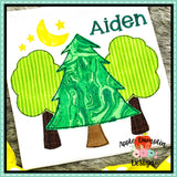 3 Trees with Moon Bean Stitch Applique Design