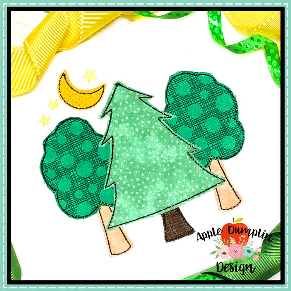 3 Trees with Moon Bean Stitch Applique Design, applique