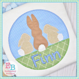 3 Bunnies Circle with Grass Applique - embroidery-boutique
