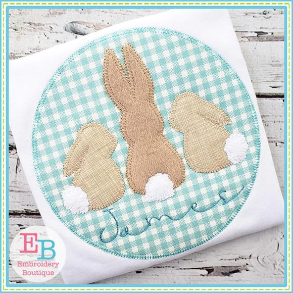 3 Bunnies Circle Applique