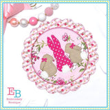 3 Bunnies Scallop Frame Applique, Applique