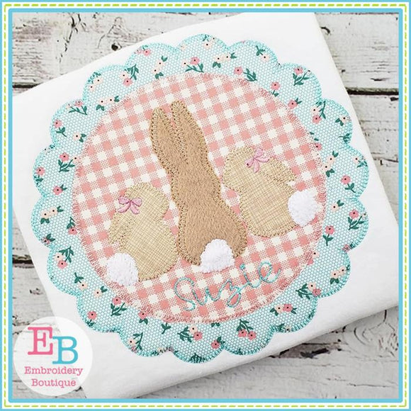 3 Bunnies Scallop Frame Applique - embroidery-boutique