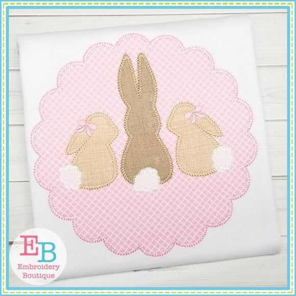 3 Bunnies Scallop Applique - embroidery-boutique