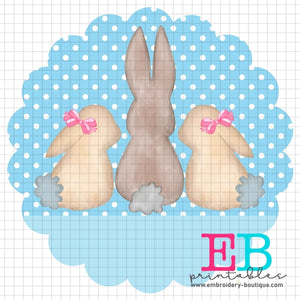 3 Bunnies Scallop Blue Printable Design PNG - embroidery-boutique