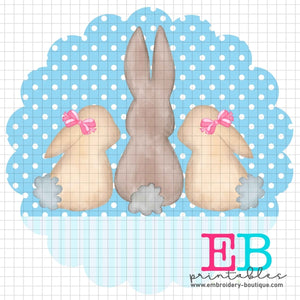 3 Bunnies Scallop Blue Stripe Printable Design PNG - embroidery-boutique