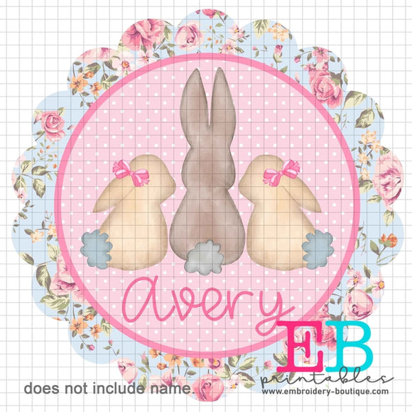 3 Bunnies Scallop Floral Name Printable Design PNG - embroidery-boutique