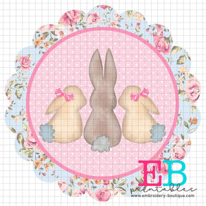 3 Bunnies Scallop Floral Printable Design PNG