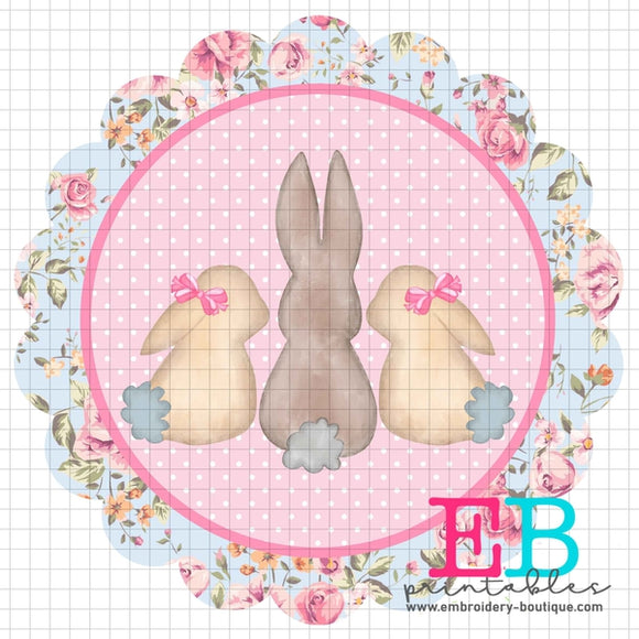 3 Bunnies Scallop Floral Printable Design PNG - embroidery-boutique