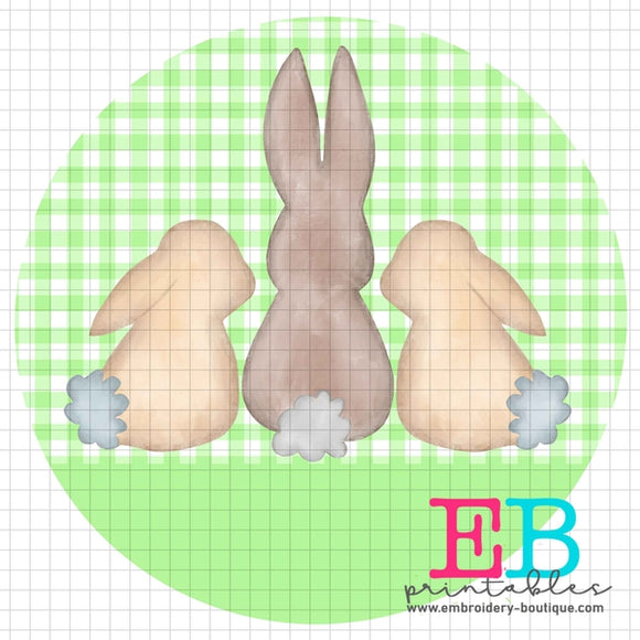 3 Bunnies Green Printable Design PNG