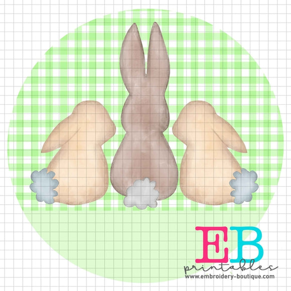3 Bunnies Light Green Printable Design PNG