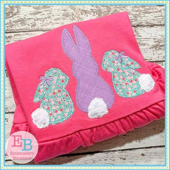 3 Bunnies with Bows Applique - embroidery-boutique