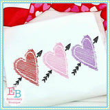 3 Hearts Sketch Design - embroidery-boutique