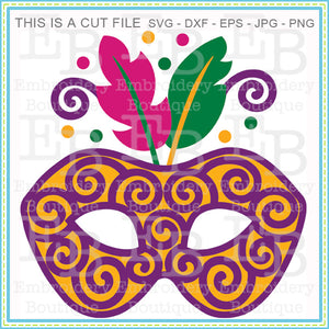Swirly Mardi Gras Mask SVG