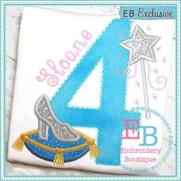 Glass Slipper  Numbers, Applique